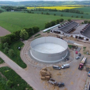 Stallkamp corrugated steel tank aerial picture