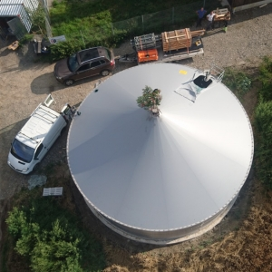 Stallkamp roof for liquid manure storage aerial picture