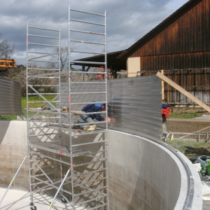 Stallkamp installation adding hight concrete tank